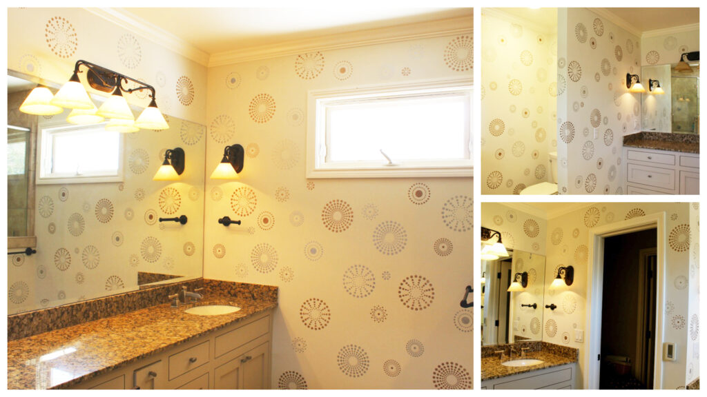 Collage of the finished bathroom stencil project
