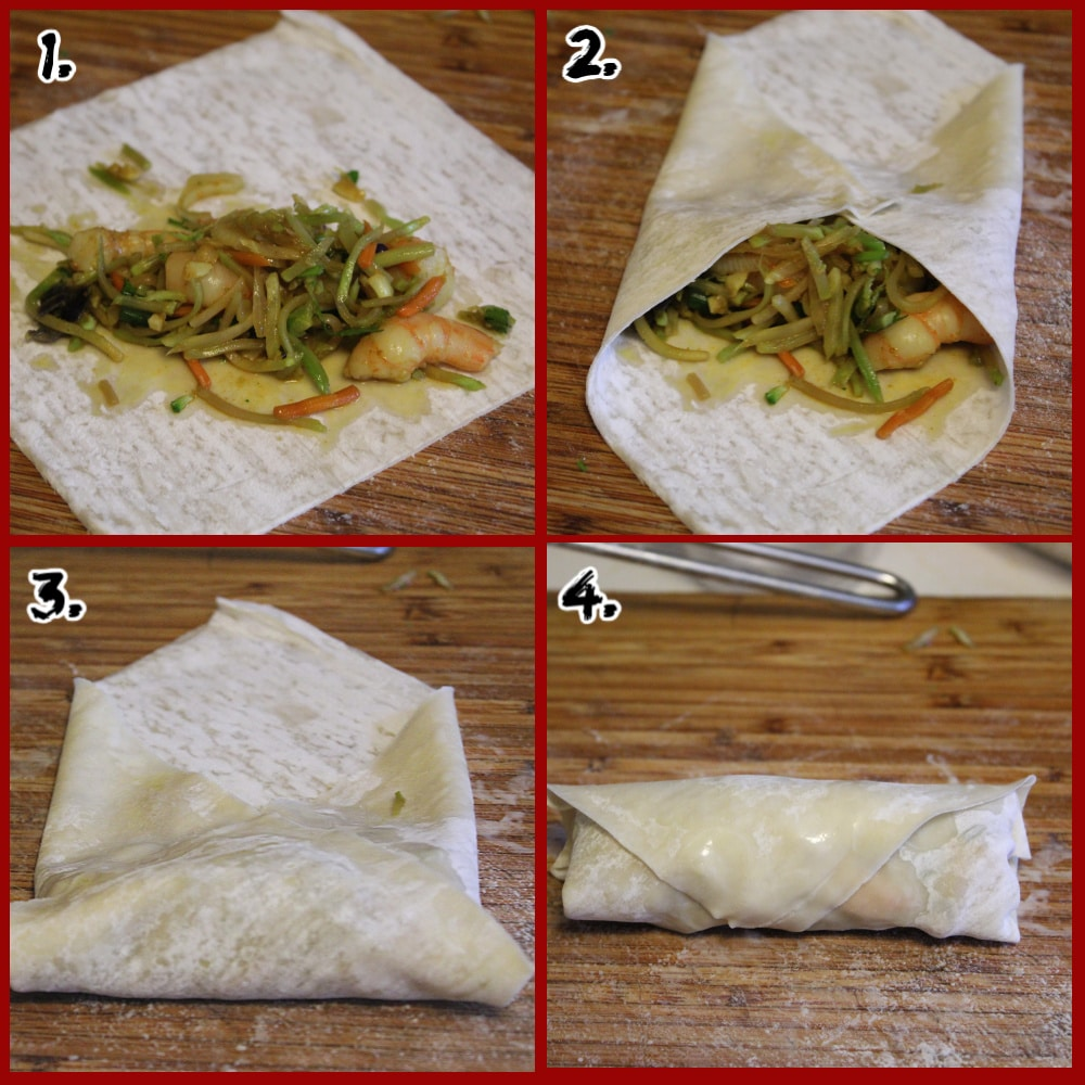 1-4 steps on how to roll an egg roll on a bamboo cutting board