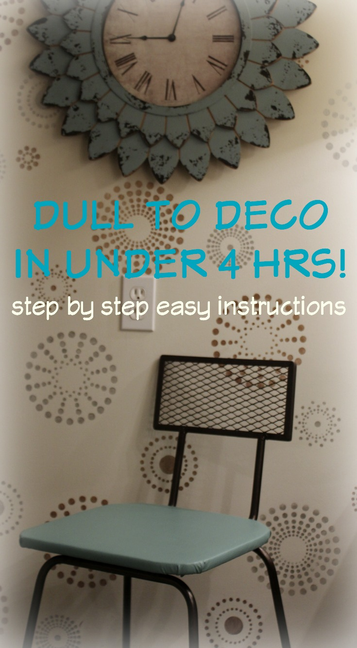 Deco Makeup Chair Makeover-Turquoise & Wrought Iron