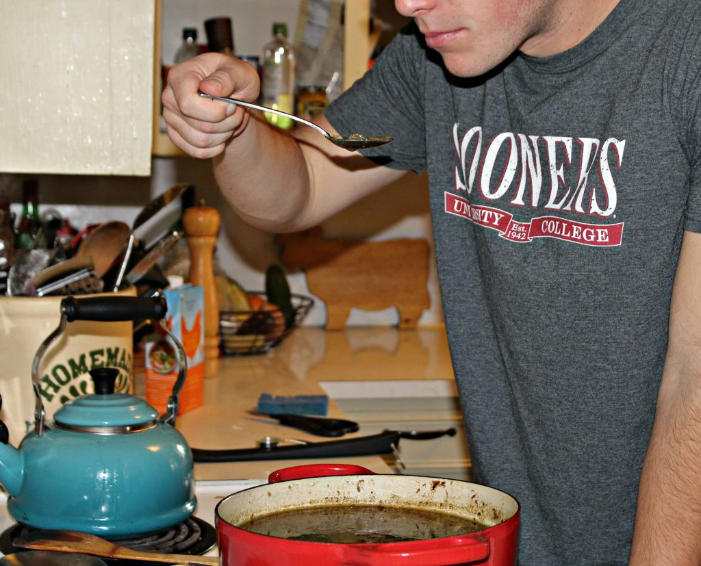 Mitch tasting his first homemade Gumbo