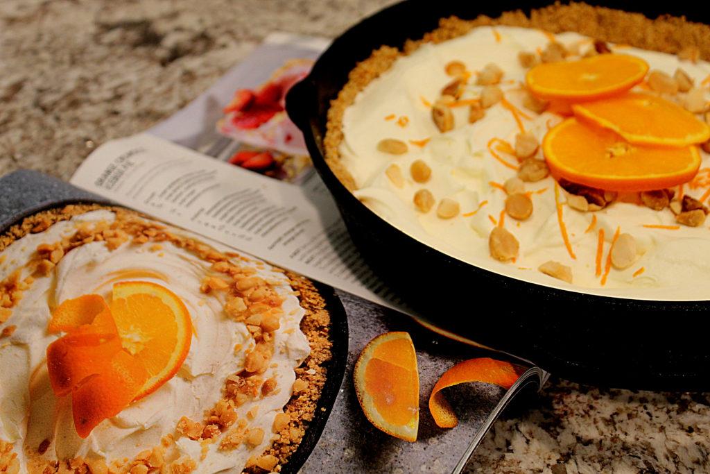 Orange Cream Icebox pie with magazine photo