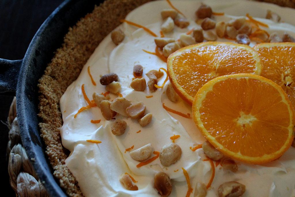 Finished orange cream cast iron icebox pie