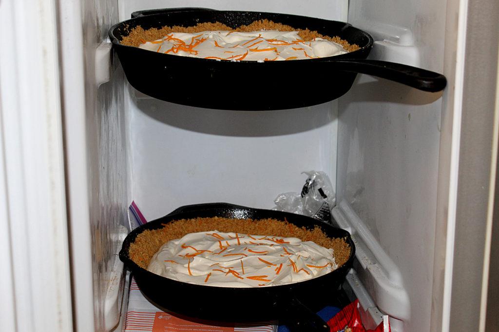 Orange Dream Cast Iron Icebox pies in freezer