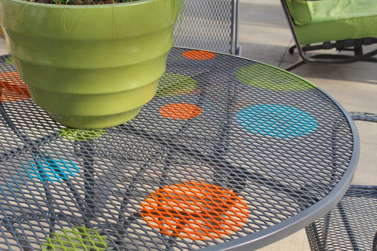 wrought iron patio furniture on the back patio