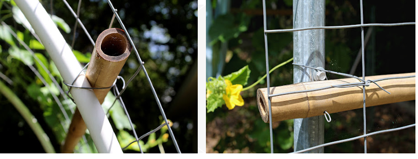 collage of close up of the welded wire being attached trellis frame