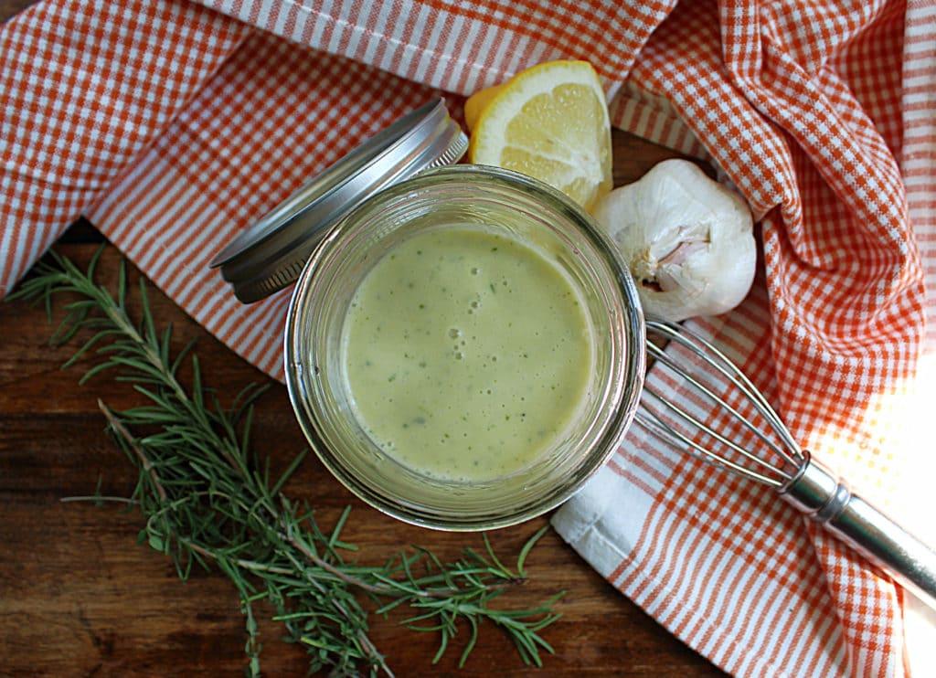 Dijon Italian Salad Dressing , rosemary, lemon, garlic, whisk