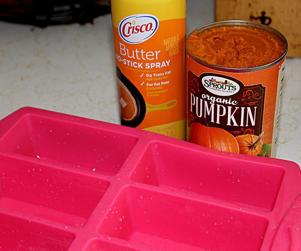 butter spray oil, canned organic pumpkin, silicone mini muffin pan
