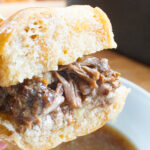 closeup of drip beef sandwich