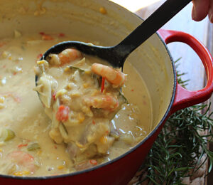 best seafood chowder in a red dutch oven