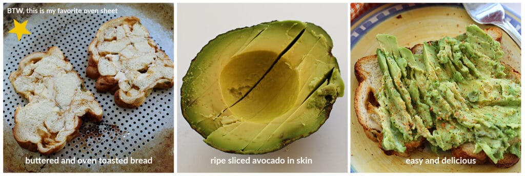 3 picture collage with bread, avocado and avocado toast with captions