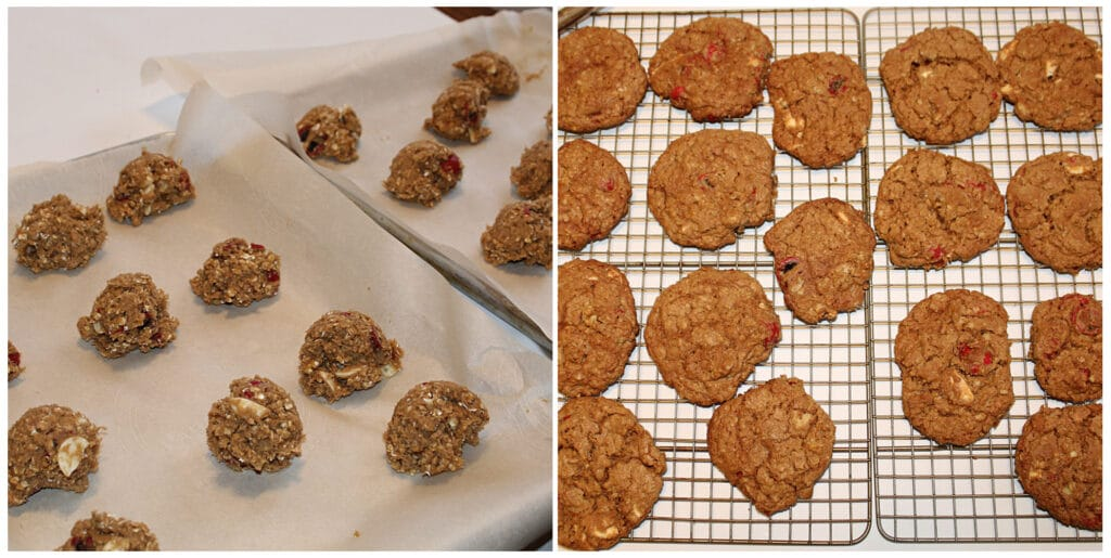 2 picture collage of raw cookies on a cookie sheet with parchments paper and a picture of cooked cookies cooling on a wire rack