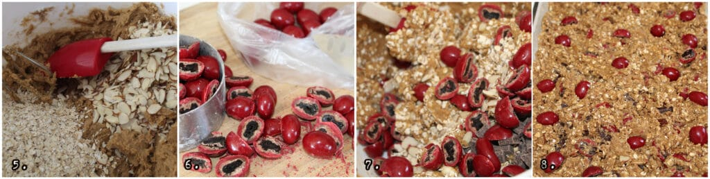 step by step numbers 5-8 collage of mixing and adding the cherries, oatmeal and almonds in class pan before bake