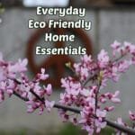 eco friendly home essentials with blooming redbud in forground and rusty peace sign in background