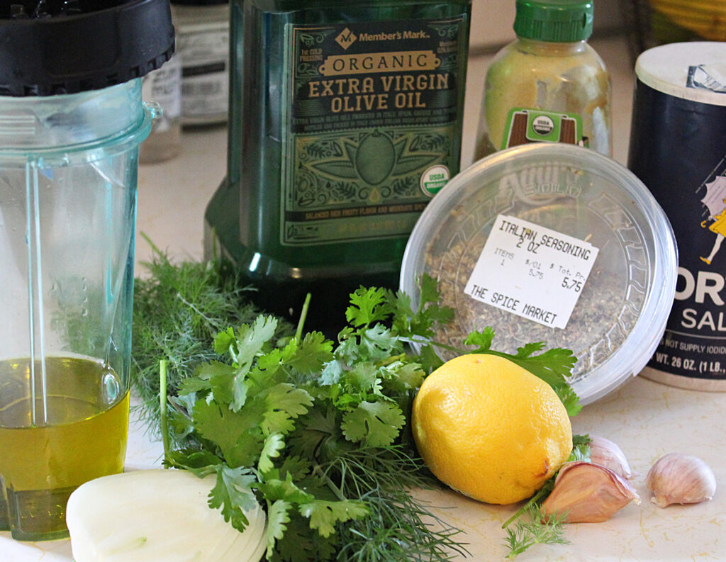 Ingredients for Cilantro Dill Salad Dressing-Marinade