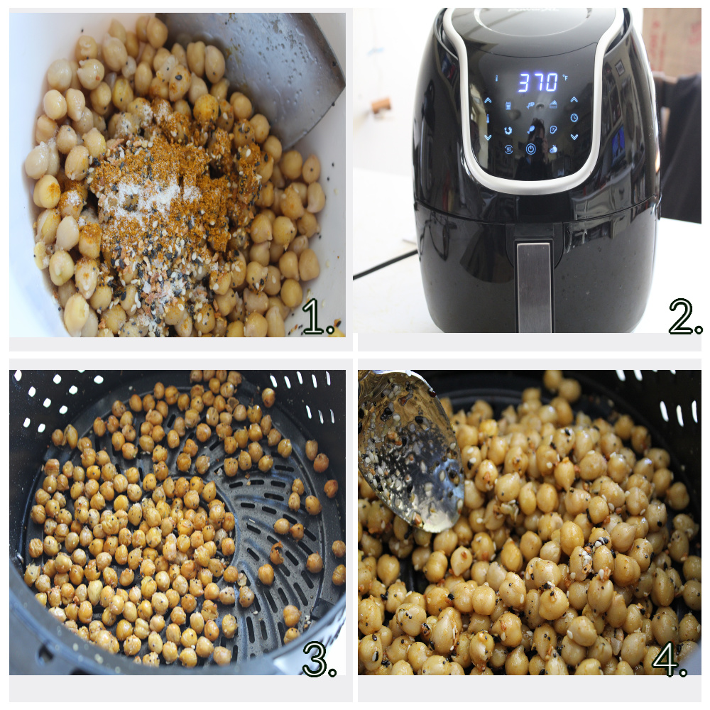 4 picture collage of the air frying roasting process of the spicy roasted chickpeas