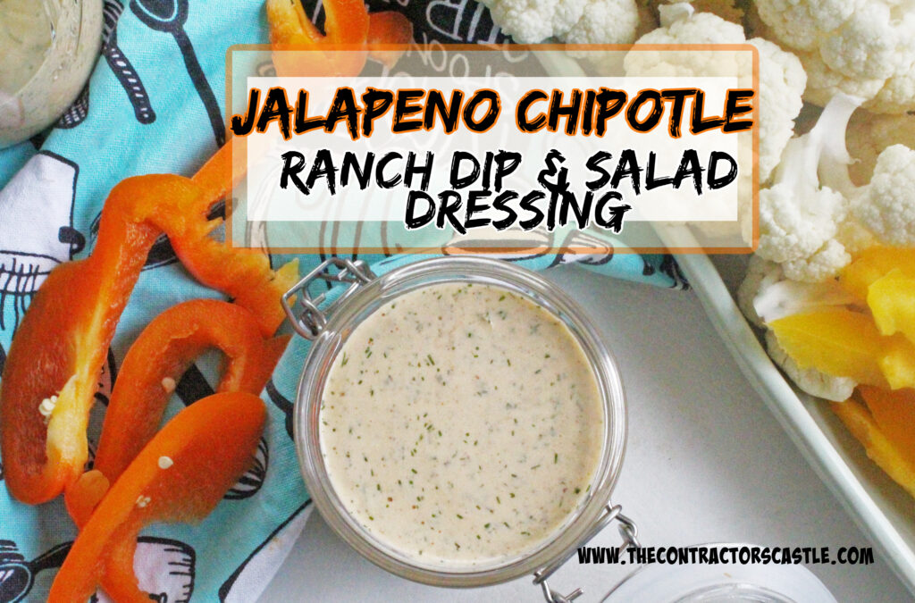 over head view of jalapeno chipotle ranch dressing with cut up veggies