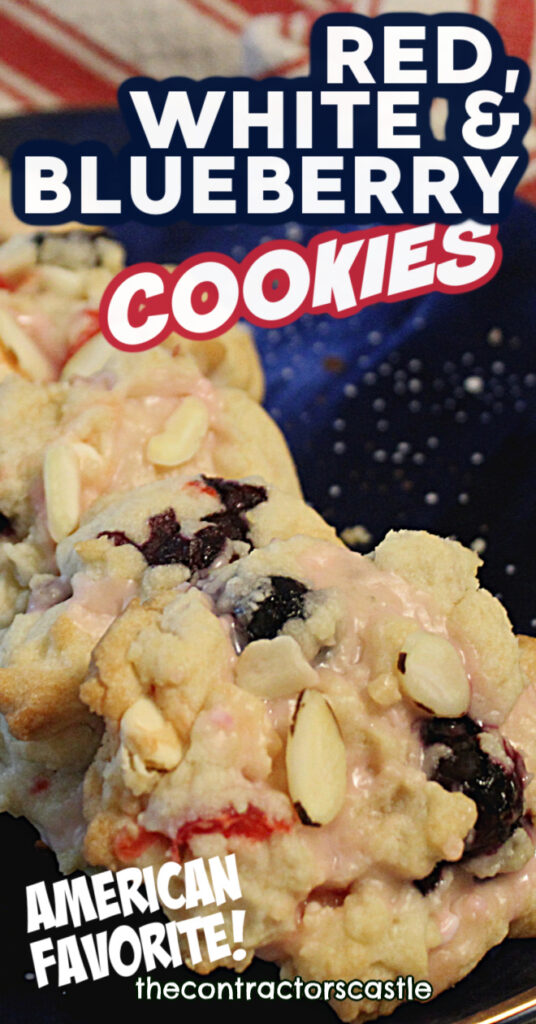 pinterest pin of red, white and blueberry cookies