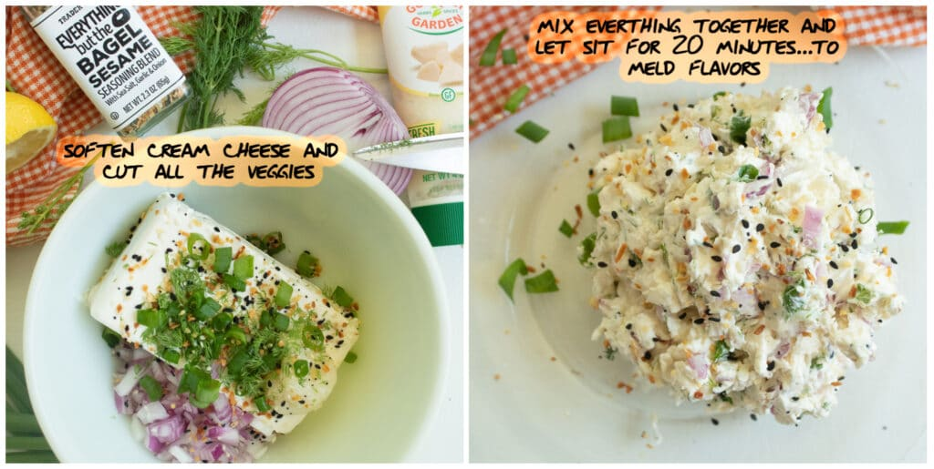 2 picture collage of the first two steps for making the everything pinwheel appetizers with text instructions