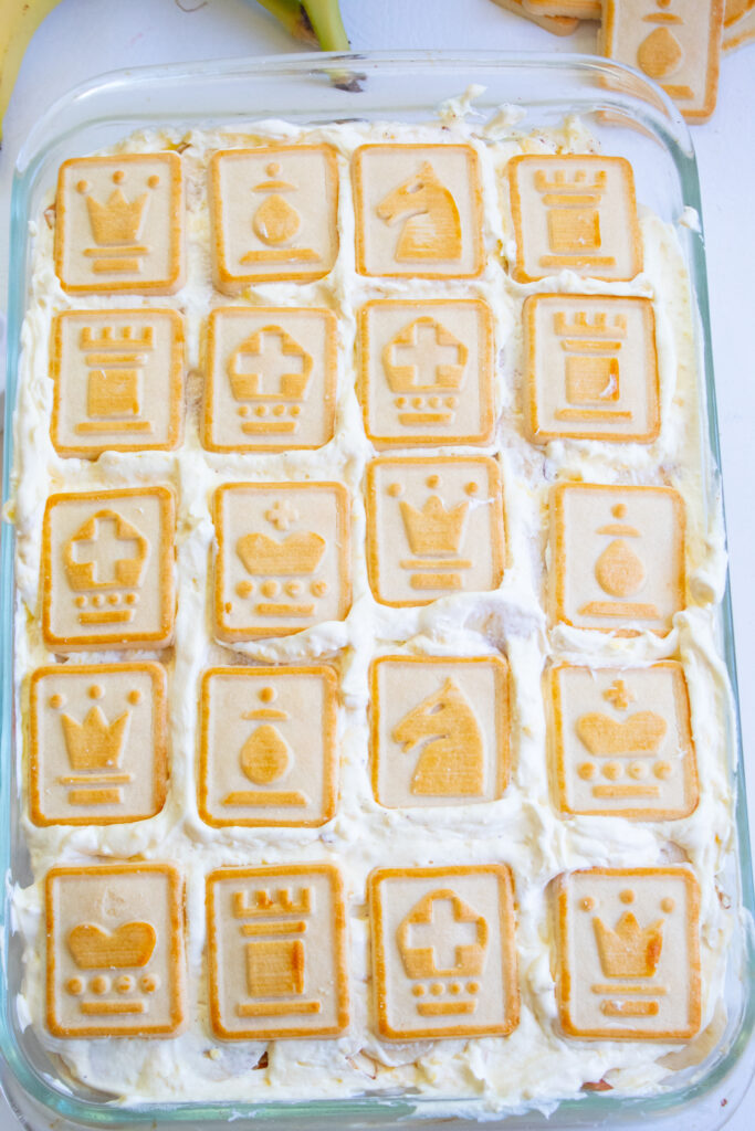 Finished Banana Pudding with Chessman Cookies on top