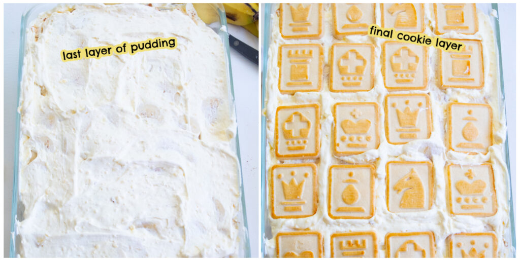 collage of final layer of banana pudding assembly with a final layer of cookies