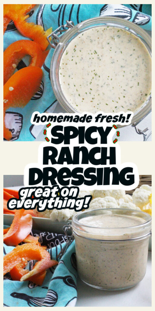 overhead closeup and side close up of ranch dressing