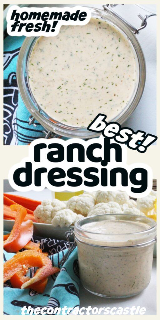 best ranch dressing words and overhead and side photos