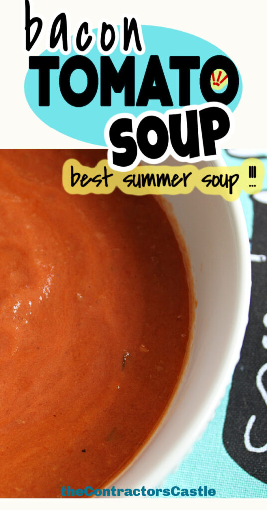 bacon tomato soup best summer soup with close up of soup