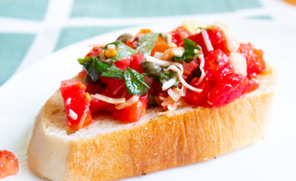 side view of fresh tomato bruschetta