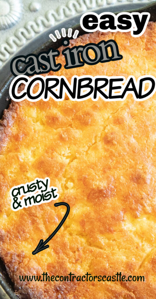 Hey Y'all, this easy cornbread recipe comes from cornbread country. Around here we use Jiffy in the blue box, a hot buttered cast iron skillet, and buttermilk. It's yummy, crunchy, loaded with golden goodness and you will never make it any other way…Promise!