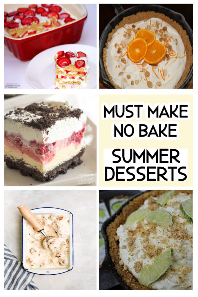 pinterest pin 5 collage summer desserts