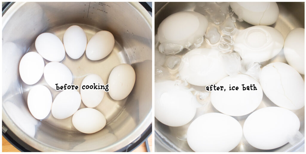 steps 1 and 2 before and after cooking eggs