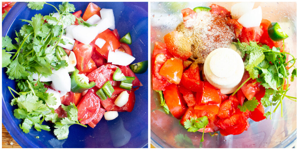 collage picture of cut up tomatoes, cilantro, onion, pepper in a blue bowl and in a food processor with seasonings