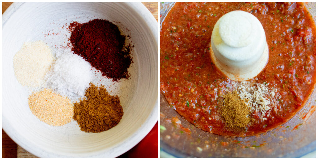 2 collage picture of spices in a white bowl and blended up salsa in a food processor with spices