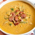 sweet savory roasted butternut squash soup with sausage