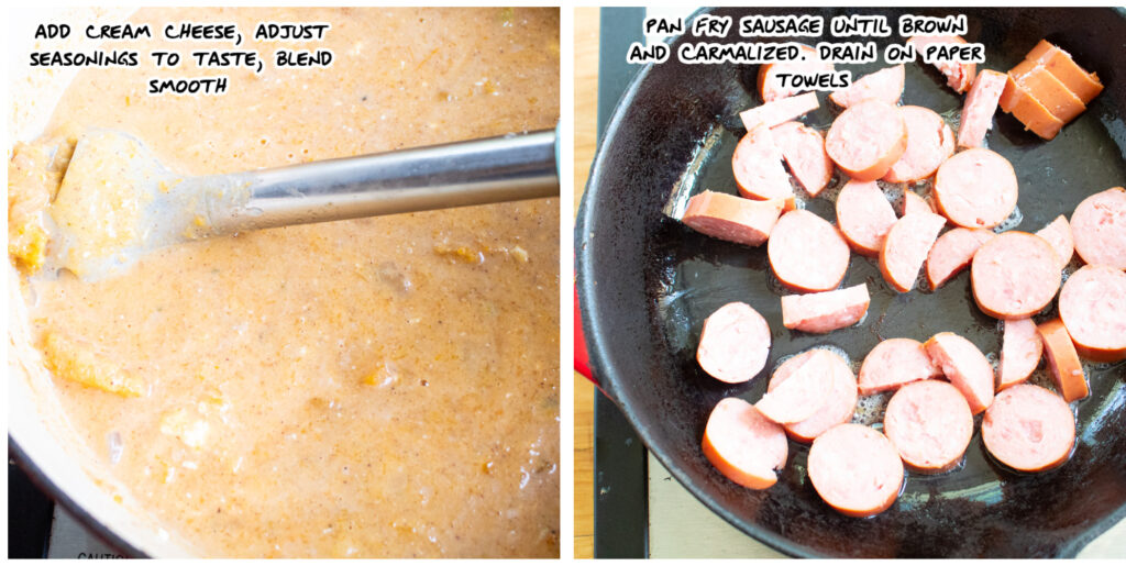 2 step collage of immersion blender in the soup and fried sausage in a skillet