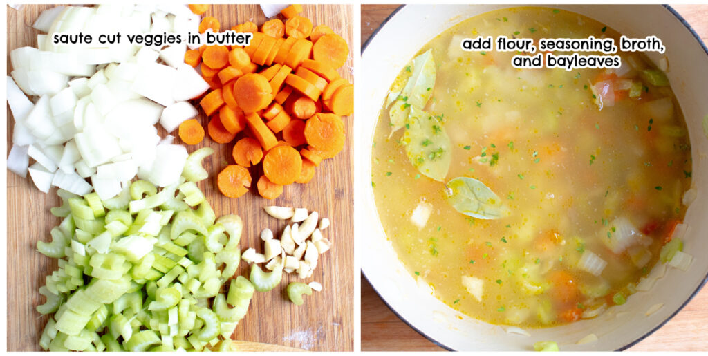 collage of cut up vegetables and broth