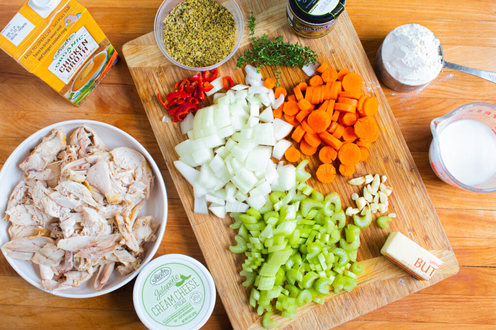 overhead picture of chicken and dumpling ingredients