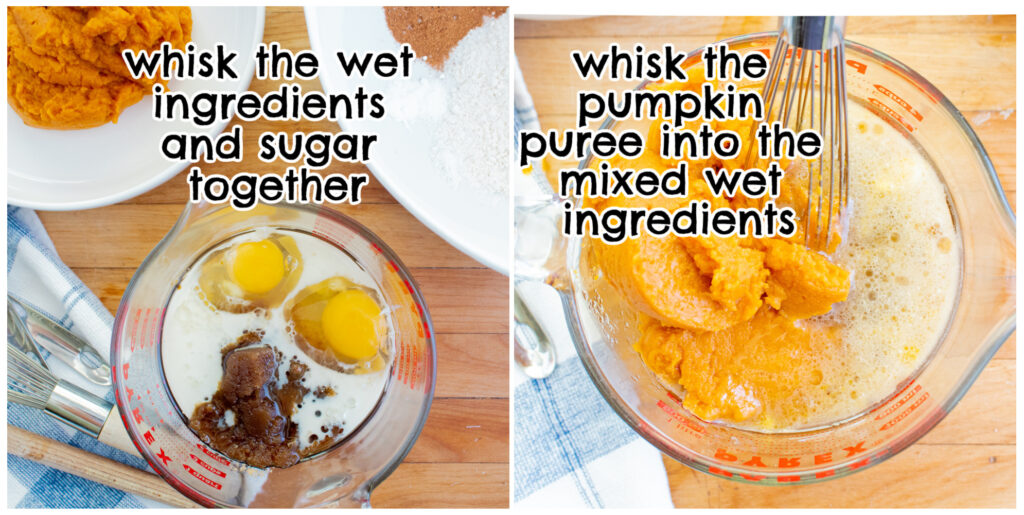 sugar ingredients and pumpkin ingredients for pumpkin muffins collage