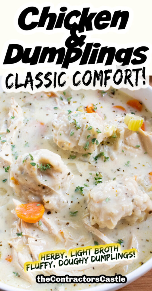 easy chicken and dumplings recipe pinterest pin two