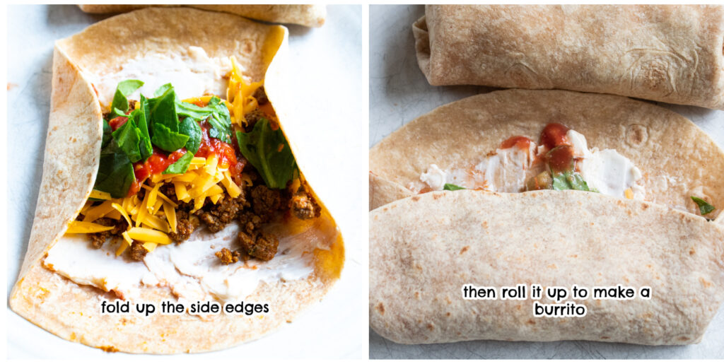 step 3 & 4 making these air fryer crunch burritos