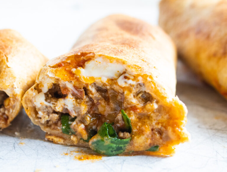 close up air fryer crunch burrito