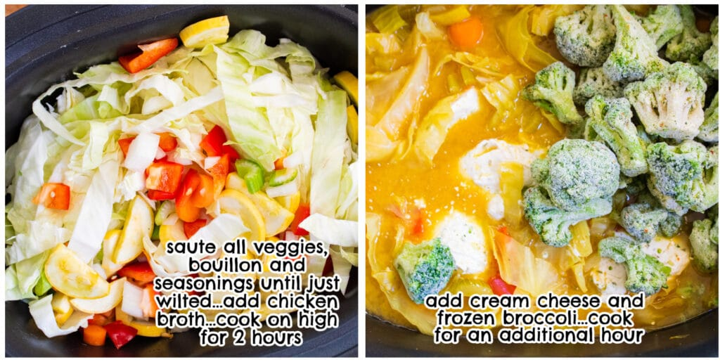 step 1 & 2 for curry vegetable soup