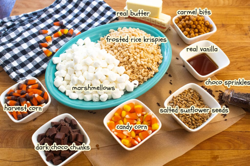 ingredients for candy corn rice krispie treats with labels