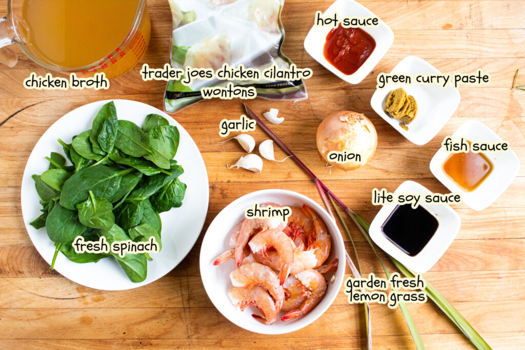Easy wonton soup ingredients on a butcher block with labels