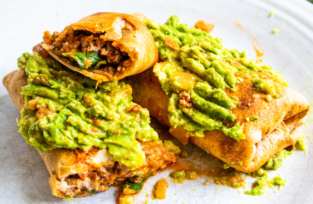 crunchy burritos with spicy avocado