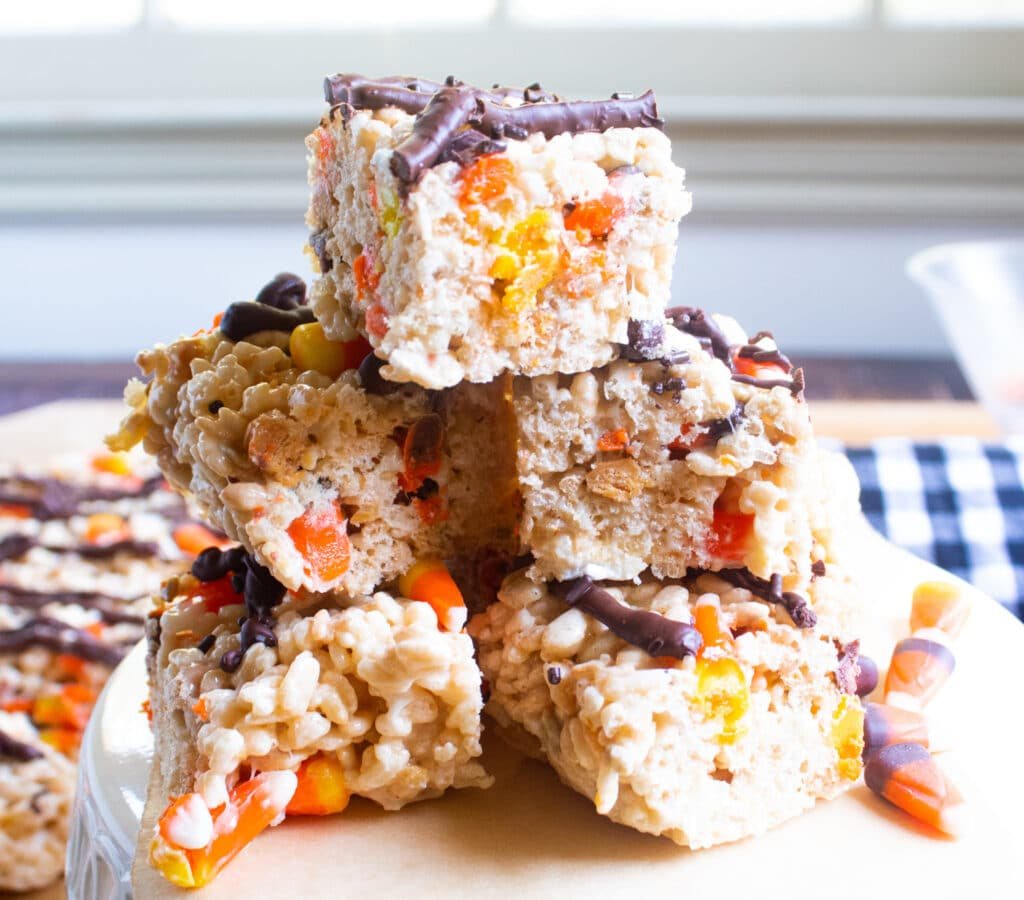 3 layer stack of easy candy corn rice krispie treats