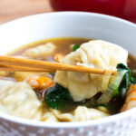 close up of wonton soup