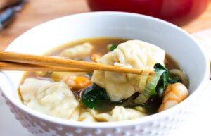 close up of wonton soup