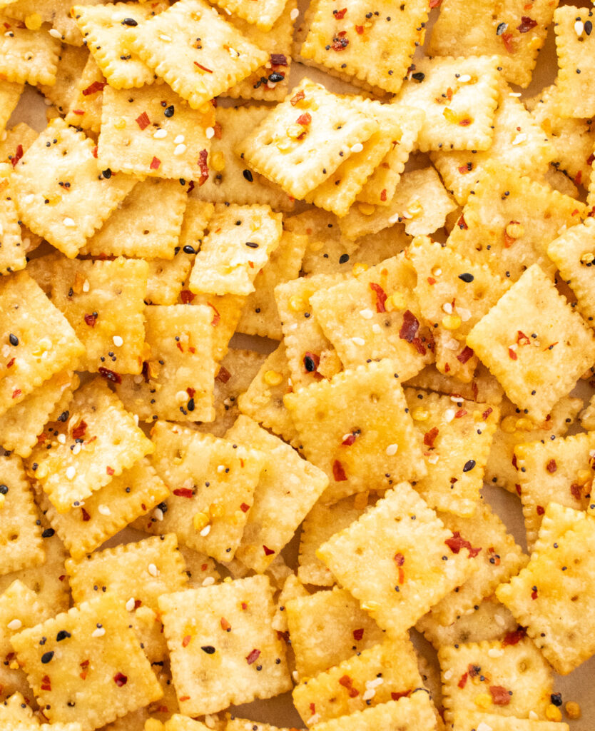 close up simple spicy everything snack crackers