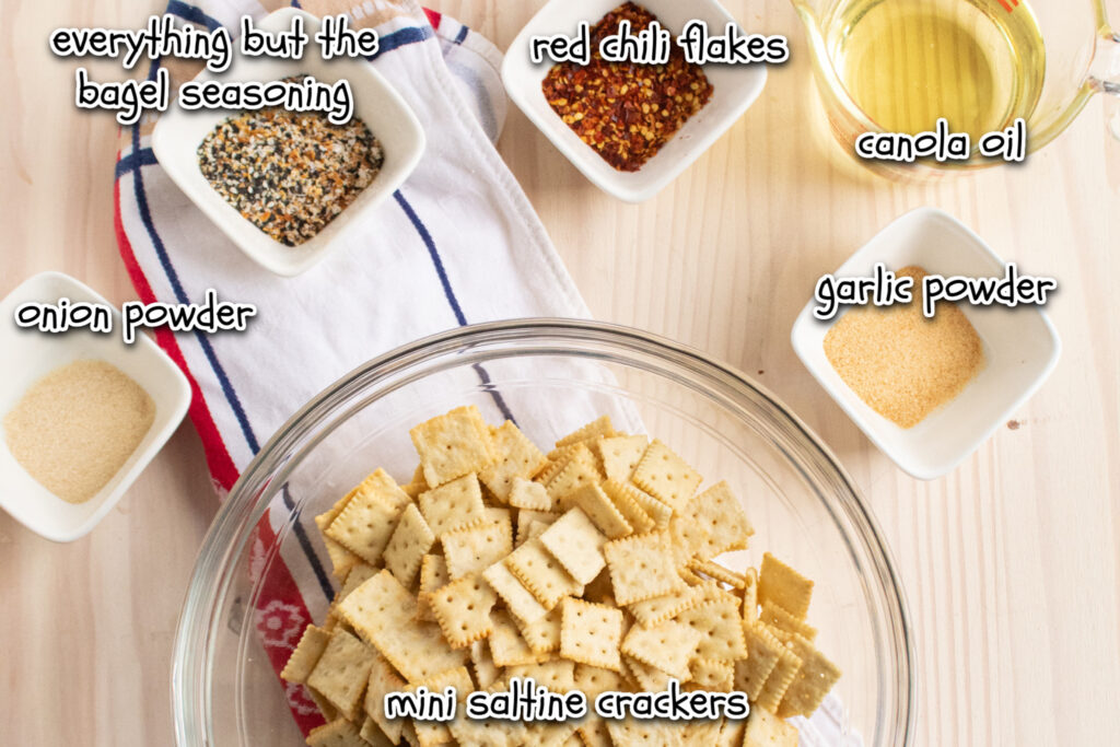 spicy everything snack crackers overhead ingredients with labels